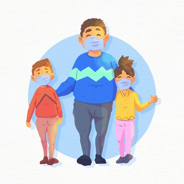 医療マスクを着用しながら子供たちと歩く母 無料ベクター