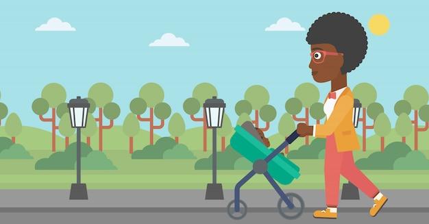 Mother walking with her baby in stroller. Premium Vector