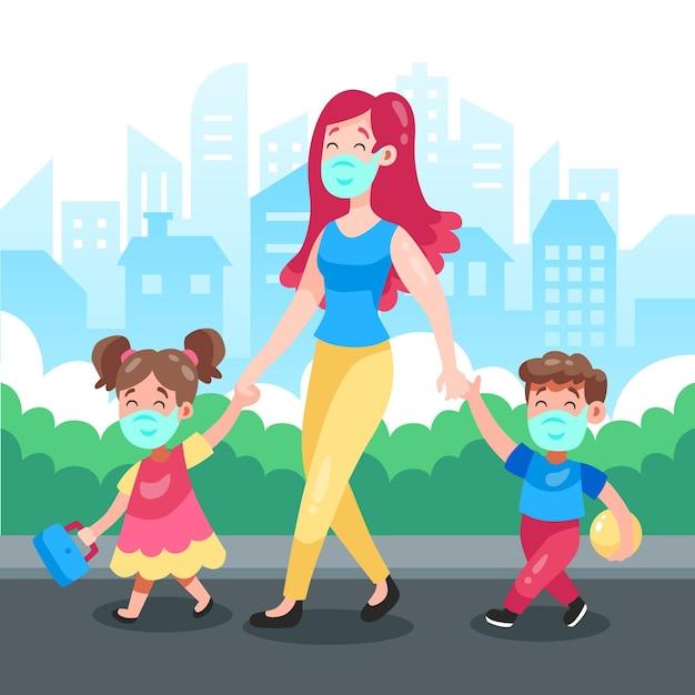 Мать гуляет с детьми в маске Premium векторы