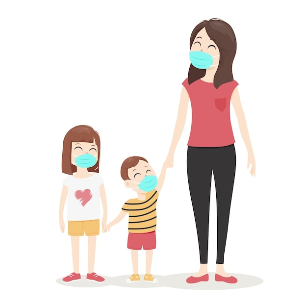 Мать гуляет с детьми Бесплатные векторы