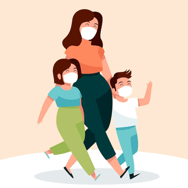 Mother walking with their children with medical masks Free Vector
