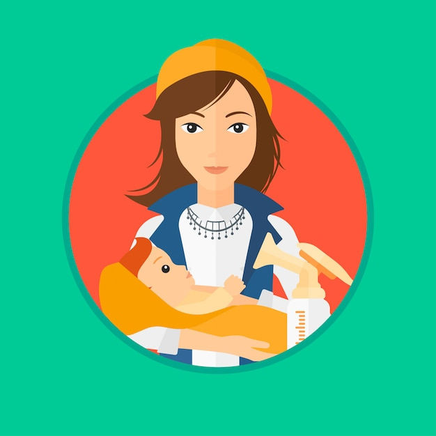 Mother with baby and breast pump. Premium Vector