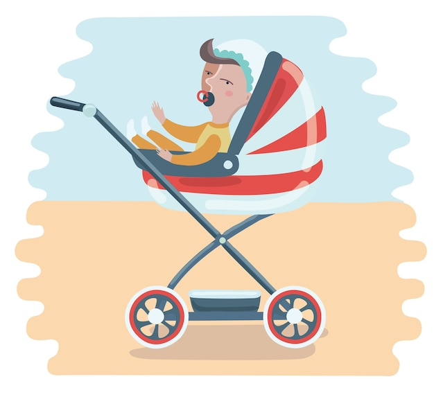 Mother with baby in stroller. young mother pushing baby boy in pram with milk bottle. Premium Vector