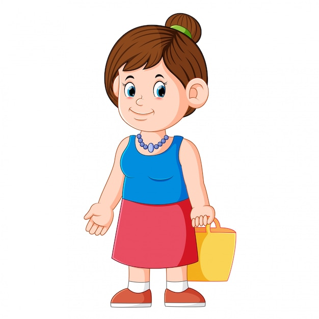 Mother with basket go to market Premium Vector