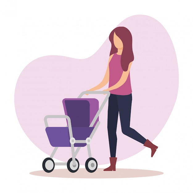 Mother with cart baby character Free Vector
