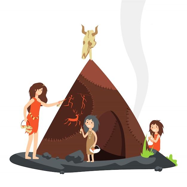 石器時代の子供を持つ母原始人の漫画のキャラクター Premiumベクター