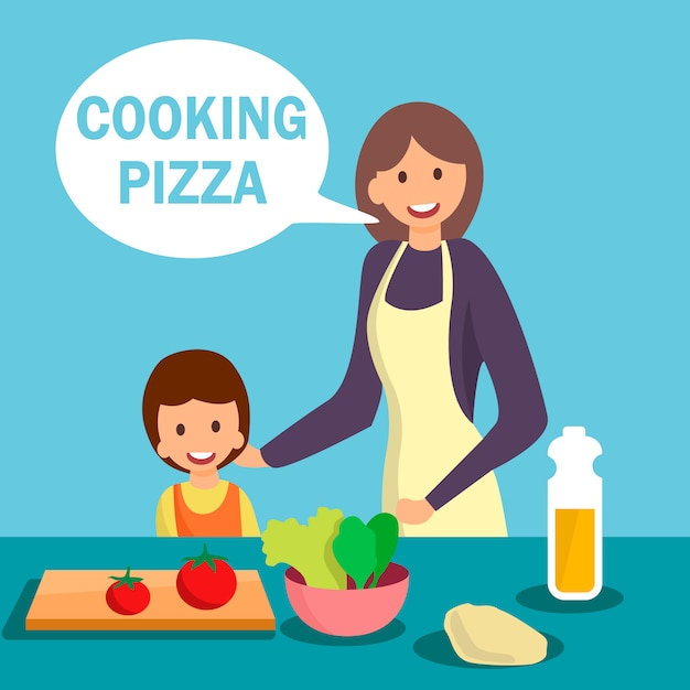 Mother with daughter cooking dish illustration Premium Vector