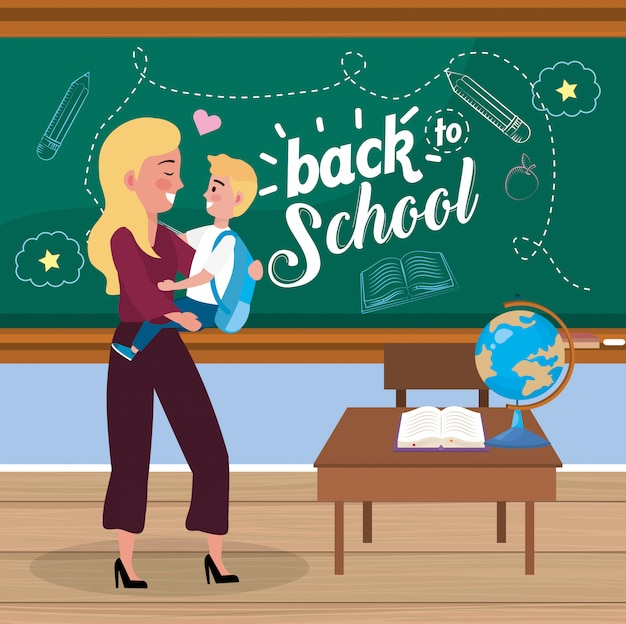 Mother with her boy student with backpack and desk Free Vector