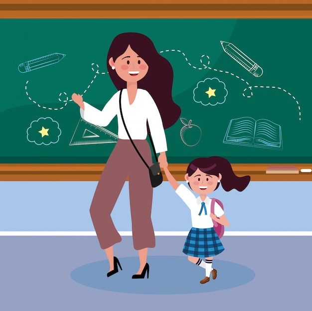 Mother with her girl student with blackboard and backpack Free Vector
