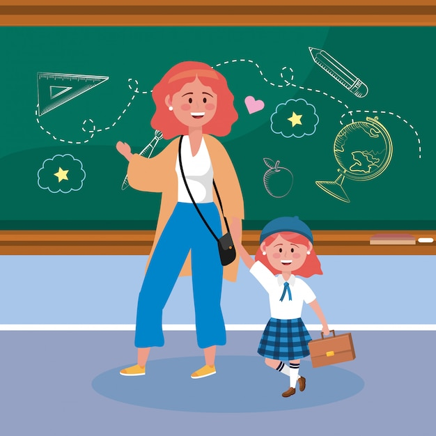 Mother with her girl students with suitcase and blackboard Free Vector