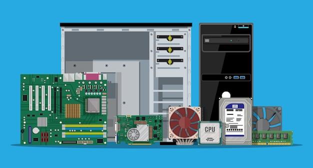 마더 보드, 하드 드라이브, Cpu, 팬, 그래픽 카드, 메모리, 드라이버 및 케이스. 프리미엄 벡터