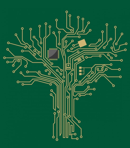 Motherboard tree Premium Vector