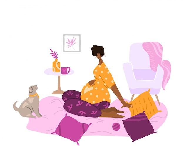 Сцена материнства и материнства, молодая беременная женщина в уютной комнате, ждет ребенка - Premium векторы