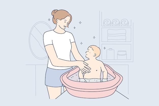 母性、子供時代、健康、ケア、愛の概念。 Premiumベクター