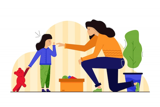 Motherhood, childhood, health, care, trauma, treatment concept. young worried woman mom character helping treating child kid injured crying daughter spraying cure antiseptic. mothers day illustration. Premium Vector