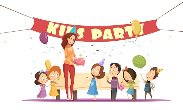 Motherhood concept and kids party with celebration symbols cartoon vector illustration Free Vector