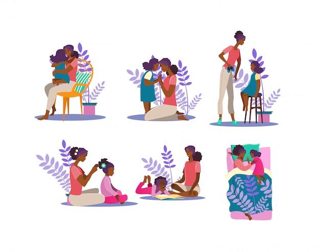 Motherhood illustration set Free Vector