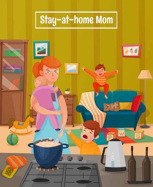 Motherhood tired mother poster Free Vector