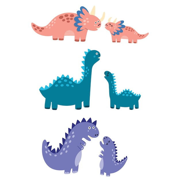 Premium Vector Mothers And Babies Dinosaurs Set Mom Dinos With Their Little Babies Isolated Elements Cute Characters In Childish Style Illustration