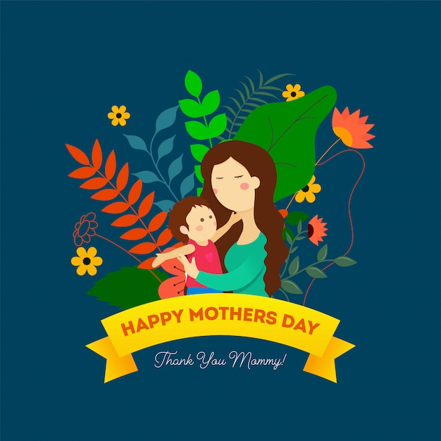 Mothers day background. Premium Vector