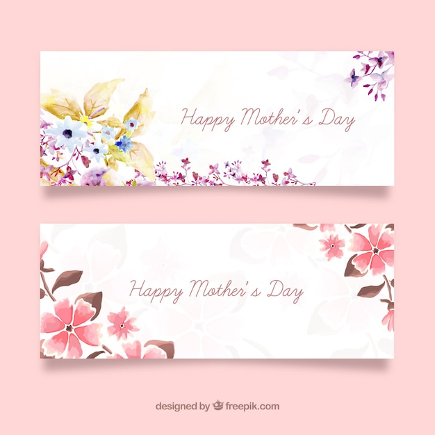 Mothers day banners Free Vector