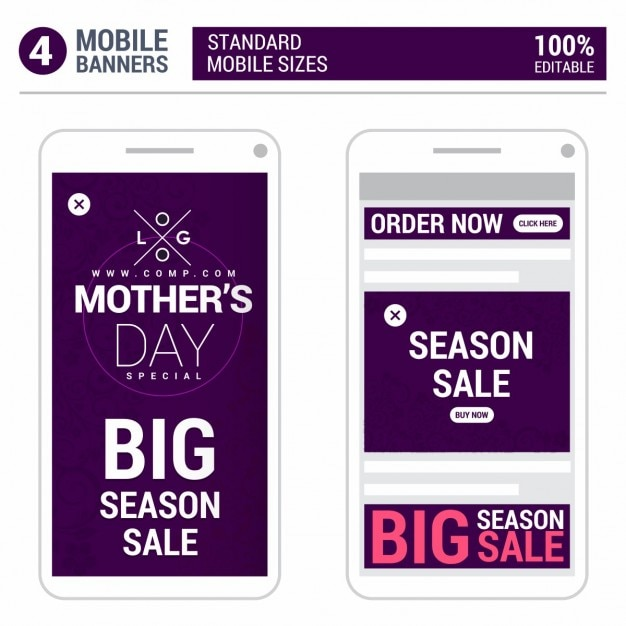 Mothers day big season sale mobile ads Free Vector