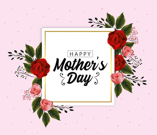 Mothers day card with exotic flowers plants Premium Vector