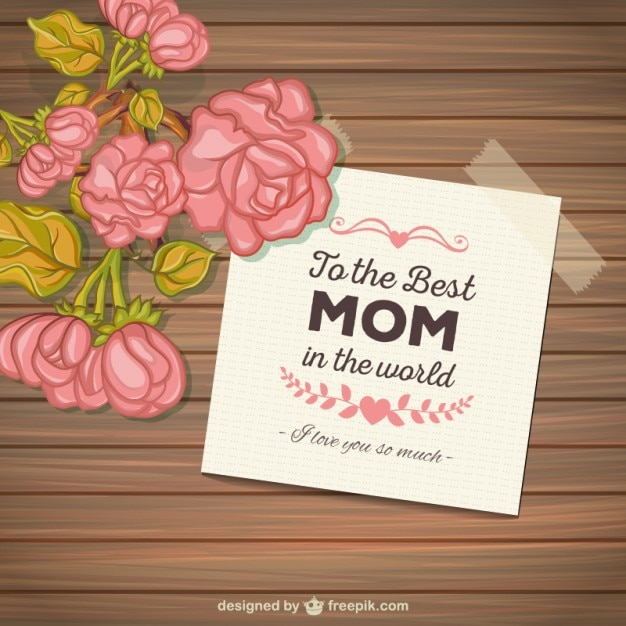 Mothers day card with flowers on wood background Free Vector