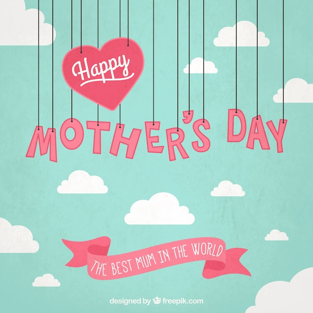 Mothers day card with hanging letters Free Vector