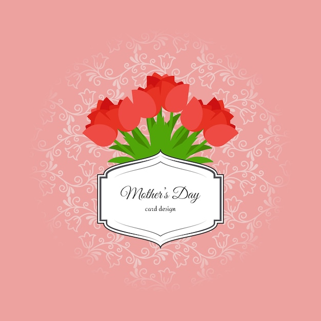 Mothers day card with red tulips Premium Vector