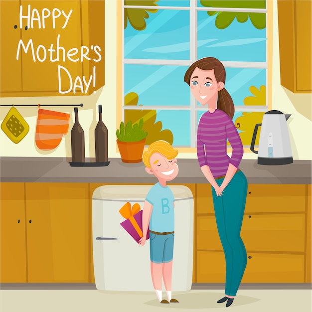 Mothers day cartoon background Free Vector