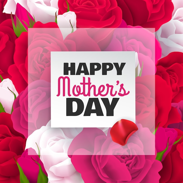 Mothers day colored card with red white roses and happy mothers day headline  illustration Free Vector