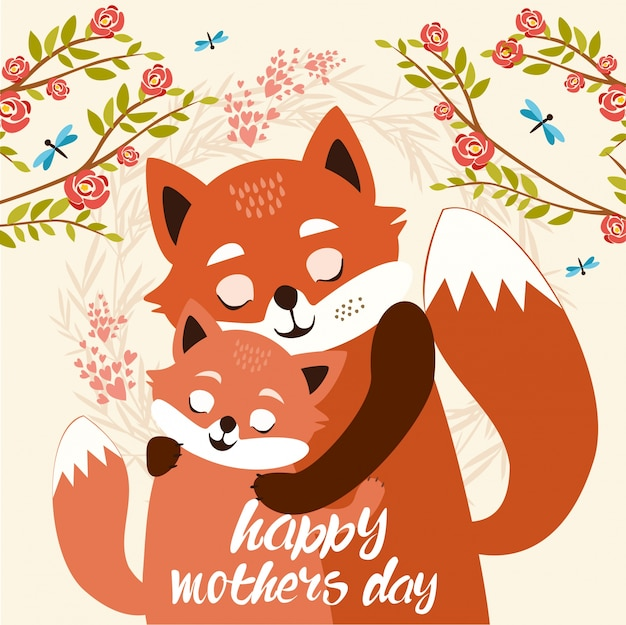 Mothers day. cute foxes Free Vector