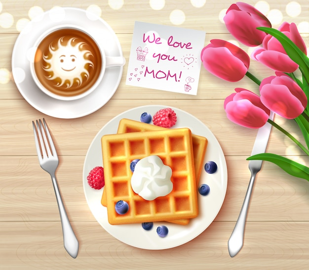 Mothers day flatlay composition with sticker we love you mom and waffles coffee flowers for gift  illustration Free Vector