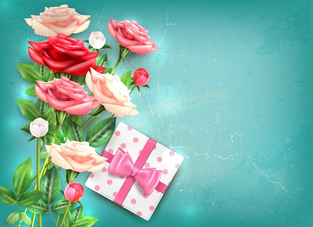 Mothers day flatlay concept with beautiful bouquet of roses and gift with big pink bow  illustration Free Vector