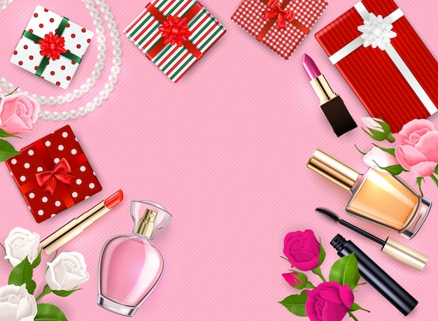 Mothers day flatlay frame with gifts cosmetic perfumeries flowers on pink background  illustration Free Vector