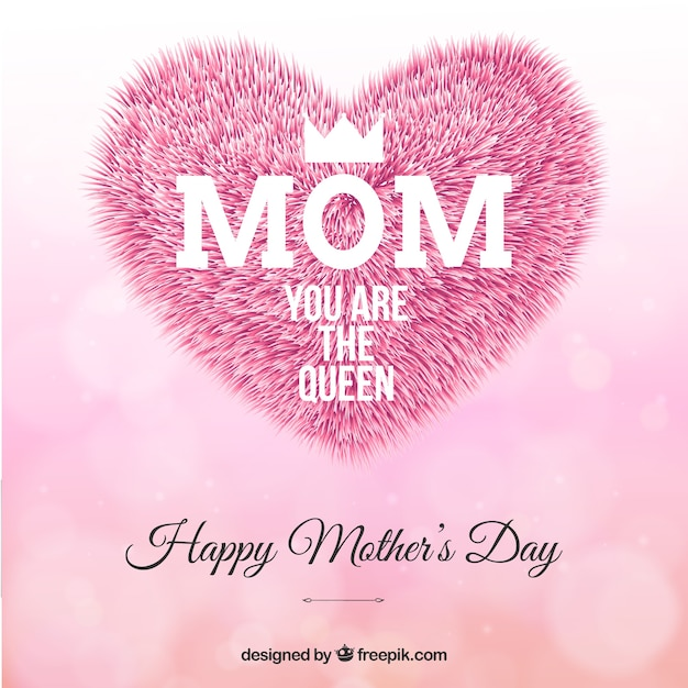 mothers day greeting with fur heart vector free download