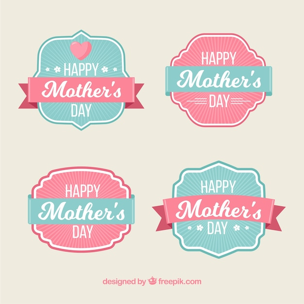 Mothers day labels Free Vector