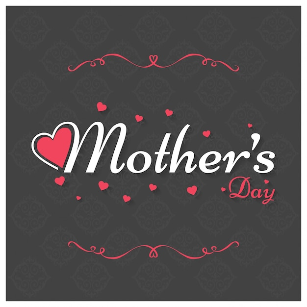 Mothers day lettering with ornaments Free Vector