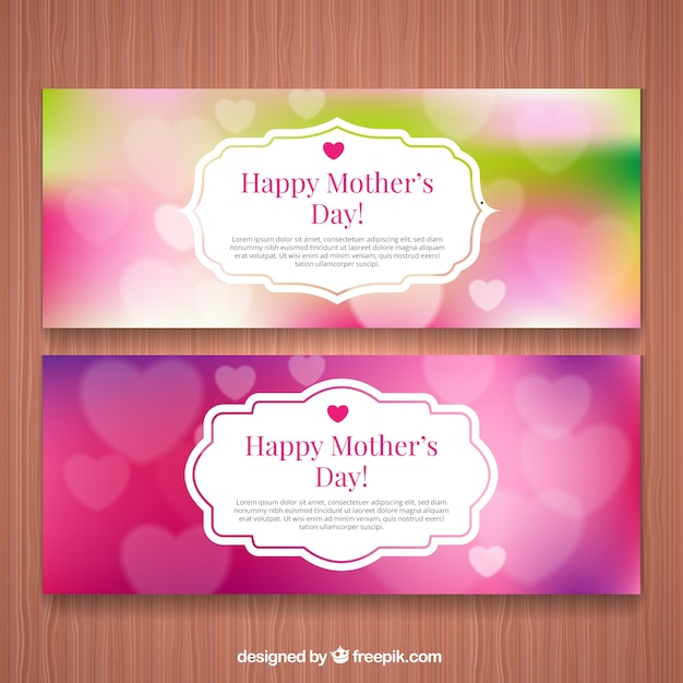 Mothers day unfocused banners