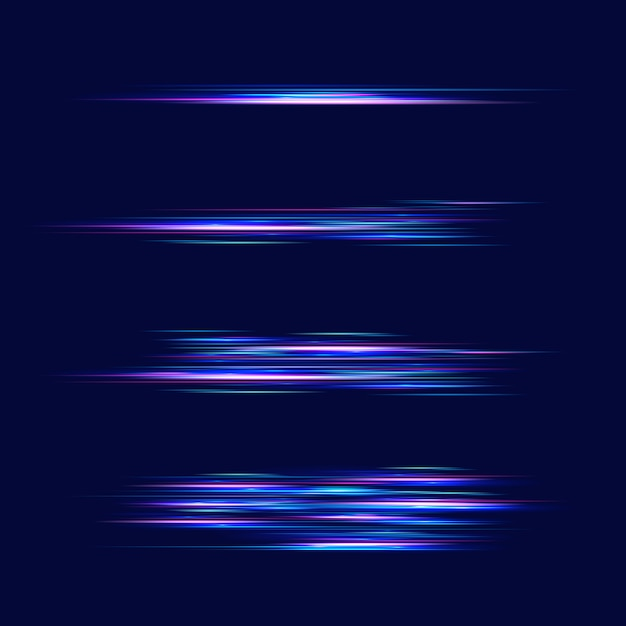 Motion light effect for banners. blue lines. the effect of speed on a blue .  red lines of light, speed and movement. vector lens flare. Premium Vector