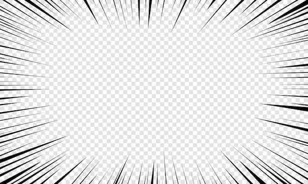 만화에 대한 모션 방사형 라인 배경. 밝은 검정색 흰색 줄무늬가 터집니다. 플래시 광선이 빛납니다. 비행 입자, 그래픽 텍스처. 스피드 라인으로 폭발. 삽화,. 프리미엄 벡터