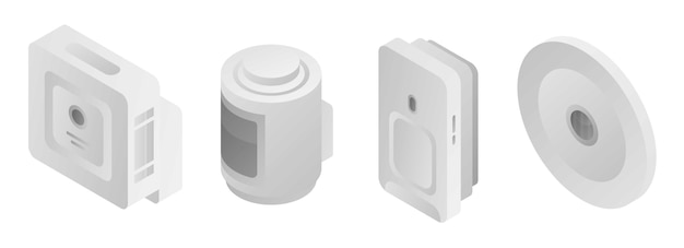 Motion sensor icons set, isometric style Premium Vector