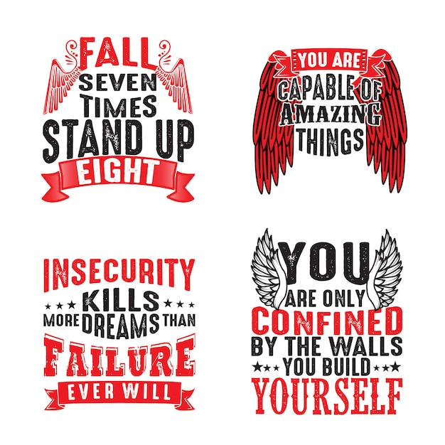 Motivation quote and saying set for graphic goods Premium Vector