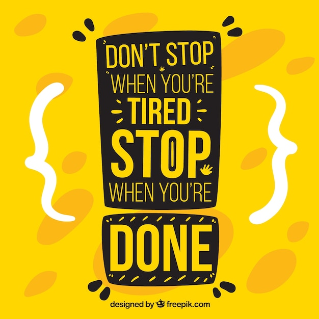 Motivation quote in yellow color Free Vector