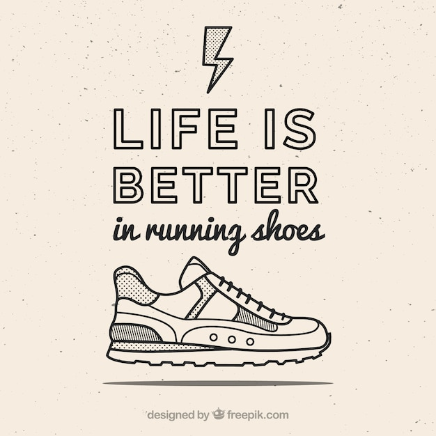 Motivational appointment with sneaker drawing Free Vector