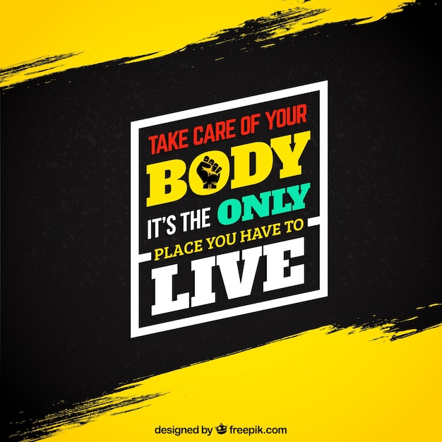 Motivational fitness quote on grunge background Premium Vector