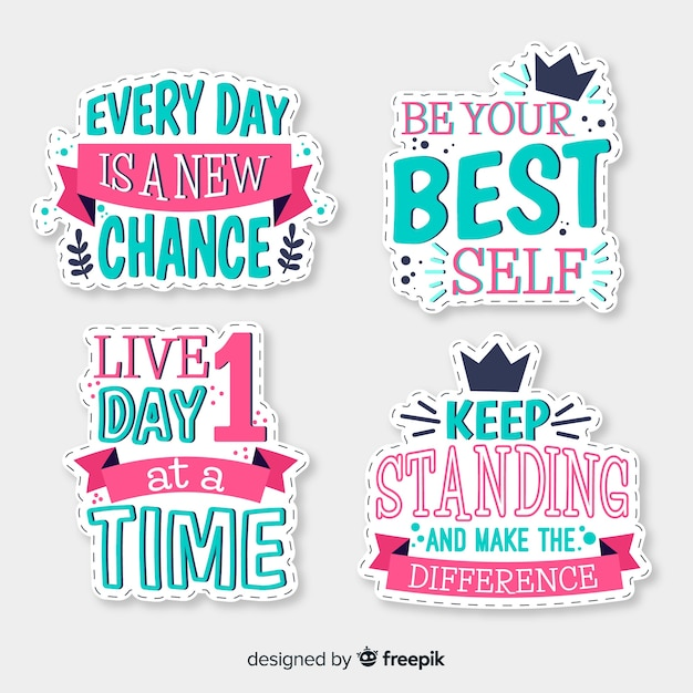 Motivational lettering hand drawn badges Free Vector