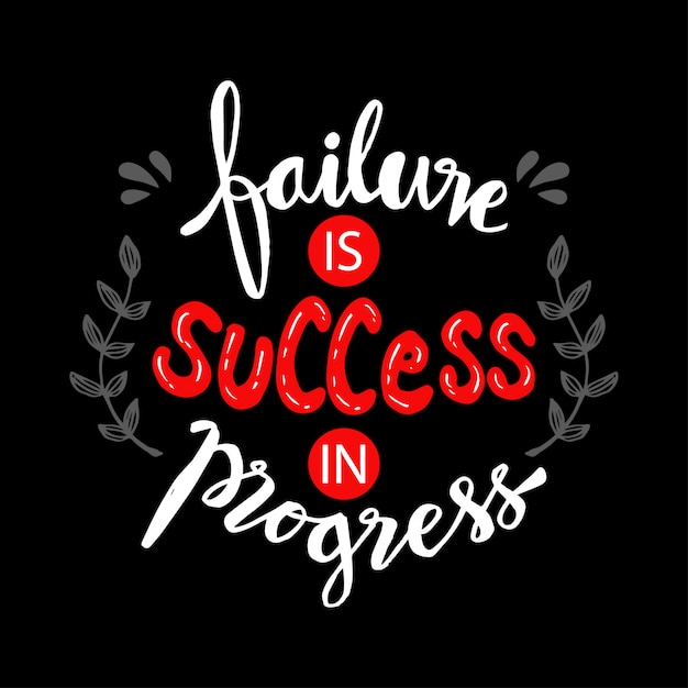 Motivational quote lettering background of success Premium Vector