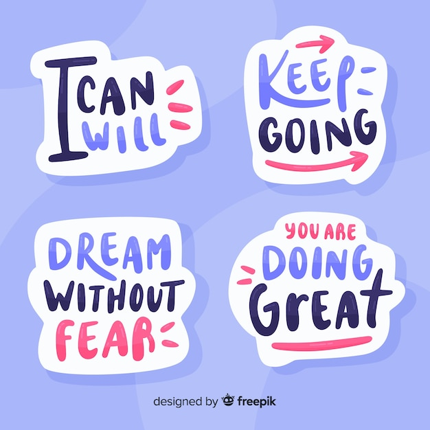 Motivational quote lettering stickers set Free Vector
